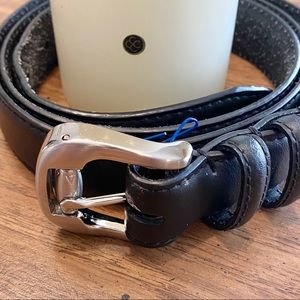 38-42 Wrangler Black leather belt - silver buckle
